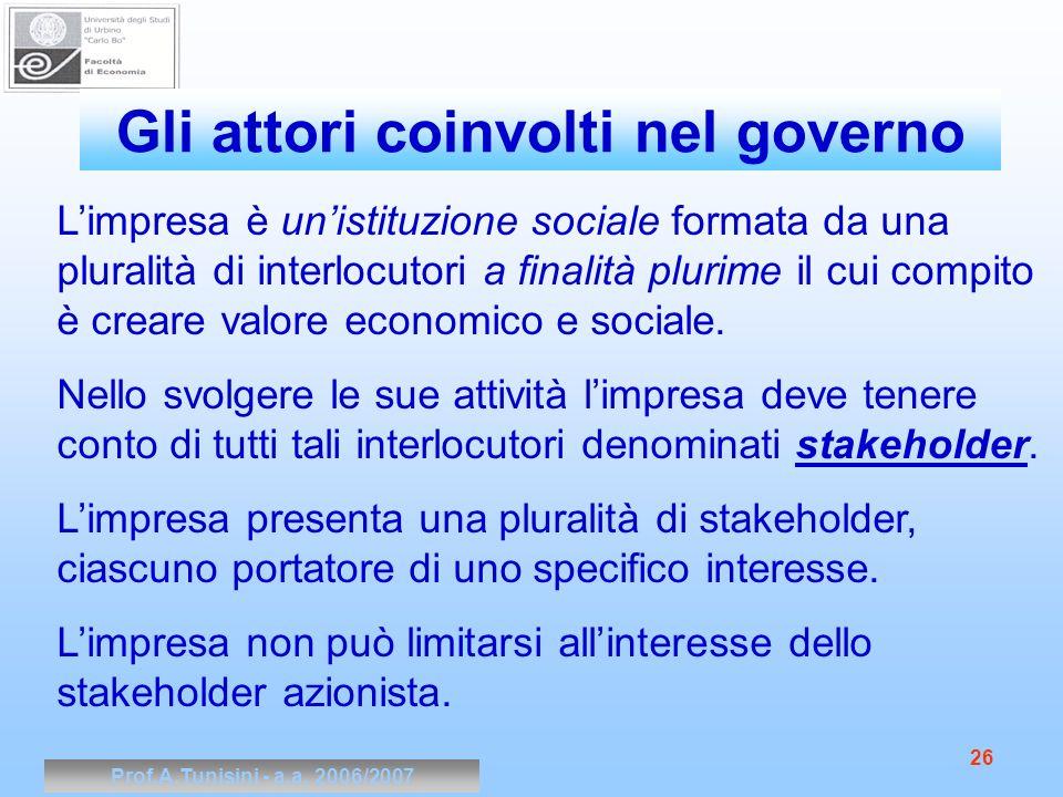 Prof.A.Tunisini - a.a. 2006/2007 26 Limpresa è unistituzione sociale formata da una pluralità di interlocutori a finalità plurime il cui compito è cre