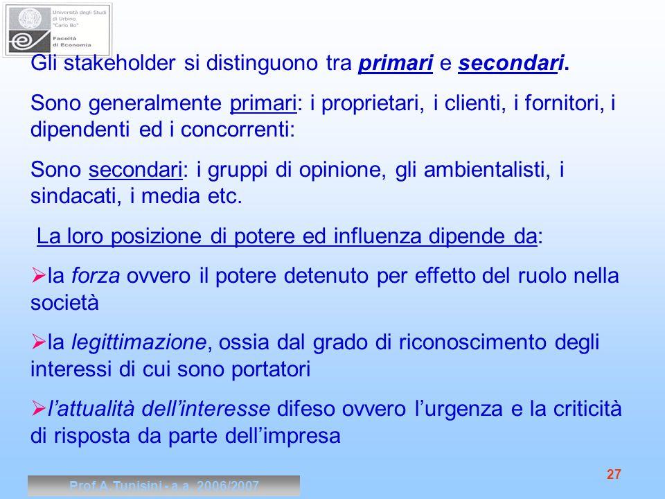 Prof.A.Tunisini - a.a. 2006/2007 27 Gli stakeholder si distinguono tra primari e secondari. Sono generalmente primari: i proprietari, i clienti, i for