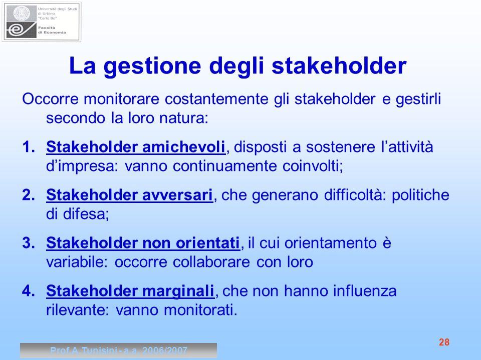 Prof.A.Tunisini - a.a. 2006/2007 28 La gestione degli stakeholder Occorre monitorare costantemente gli stakeholder e gestirli secondo la loro natura: