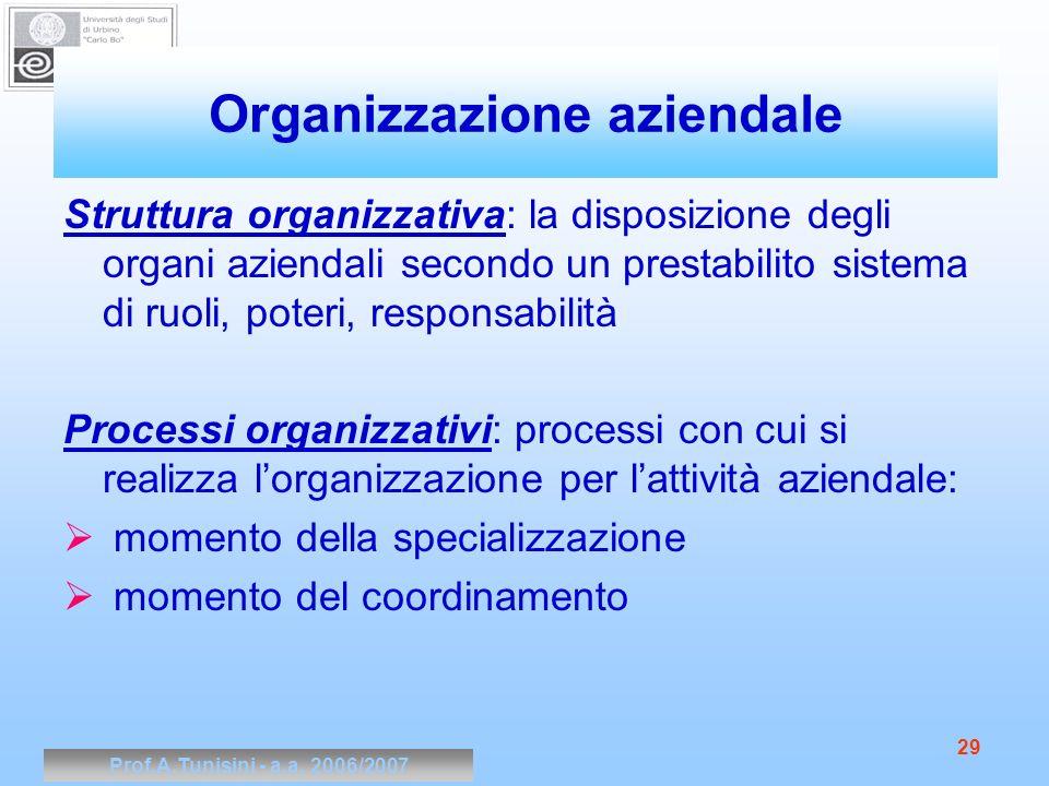 Prof.A.Tunisini - a.a. 2006/2007 29 Organizzazione aziendale Struttura organizzativa: la disposizione degli organi aziendali secondo un prestabilito s