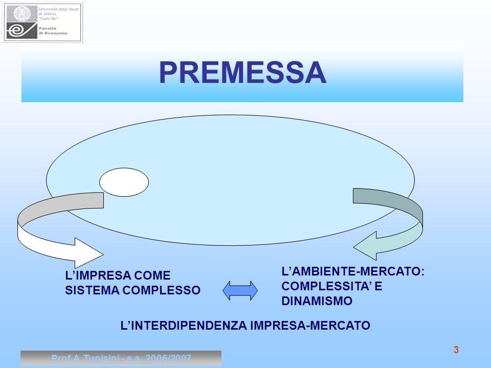 Prof.A.Tunisini - a.a. 2006/2007 3 PREMESSA LIMPRESA COME SISTEMA COMPLESSO LAMBIENTE-MERCATO: COMPLESSITA E DINAMISMO LINTERDIPENDENZA IMPRESA-MERCAT