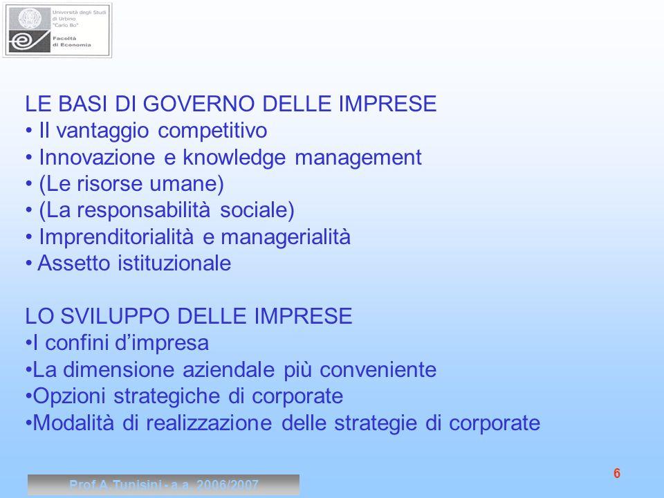 Prof.A.Tunisini - a.a. 2006/2007 6 LE BASI DI GOVERNO DELLE IMPRESE Il vantaggio competitivo Innovazione e knowledge management (Le risorse umane) (La