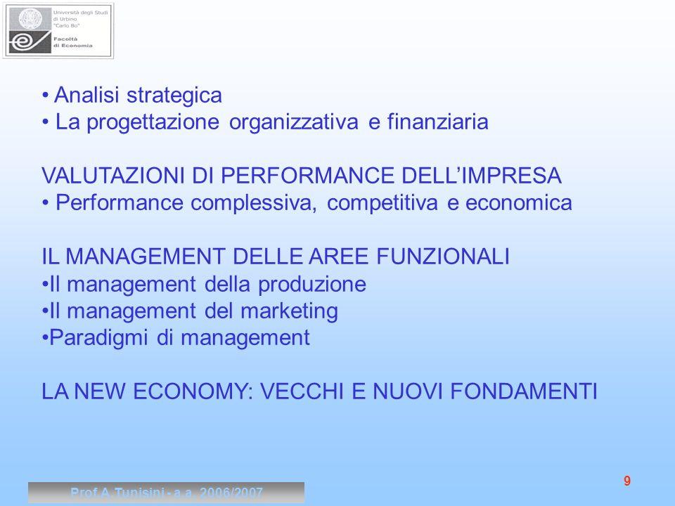 Prof.A.Tunisini - a.a. 2006/2007 9 Analisi strategica La progettazione organizzativa e finanziaria VALUTAZIONI DI PERFORMANCE DELLIMPRESA Performance