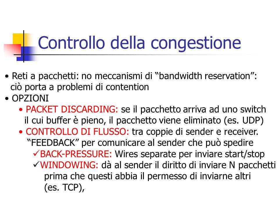 Controllo della congestione Reti a pacchetti: no meccanismi di bandwidth reservation: ciò porta a problemi di contention OPZIONI PACKET DISCARDING: se il pacchetto arriva ad uno switch il cui buffer è pieno, il pacchetto viene eliminato (es.