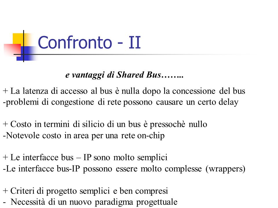 Confronto - II e vantaggi di Shared Bus……..