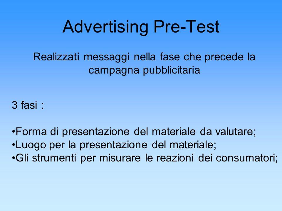 Advertising Pre-Test Realizzati messaggi nella fase che precede la campagna pubblicitaria 3 fasi : Forma di presentazione del materiale da valutare; L
