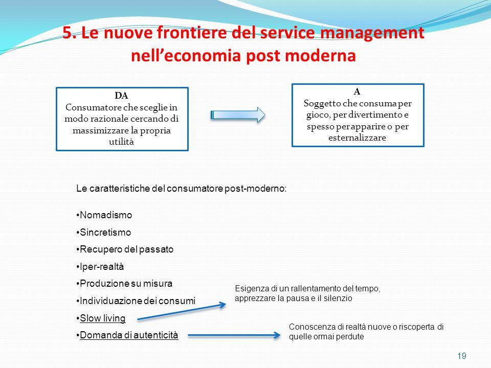 19 5. Le nuove frontiere del service management nelleconomia post moderna DA Consumatore che sceglie in modo razionale cercando di massimizzare la pro