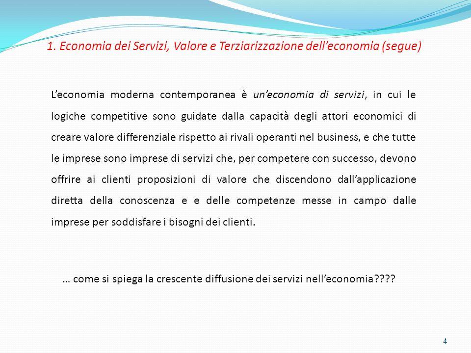 1. Economia dei Servizi, Valore e Terziarizzazione delleconomia (segue) 4 Leconomia moderna contemporanea è uneconomia di servizi, in cui le logiche c