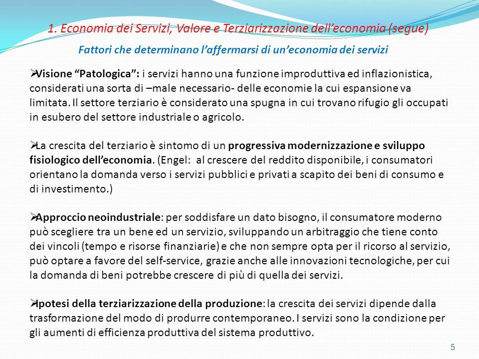 5 1. Economia dei Servizi, Valore e Terziarizzazione delleconomia (segue) Fattori che determinano laffermarsi di uneconomia dei servizi Visione Patolo