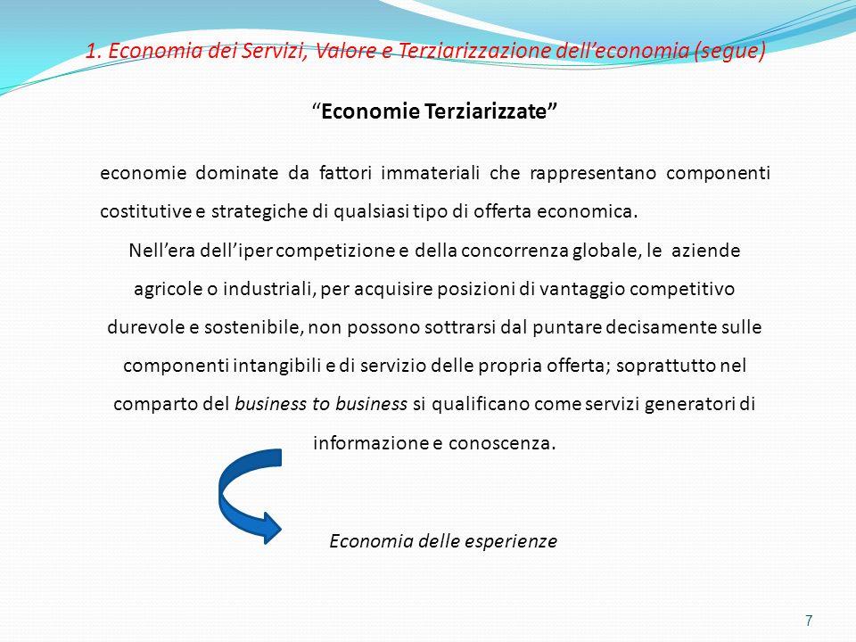 7 Economie Terziarizzate economie dominate da fattori immateriali che rappresentano componenti costitutive e strategiche di qualsiasi tipo di offerta