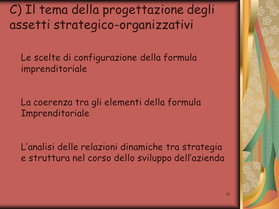 10 C) Il tema della progettazione degli assetti strategico-organizzativi Le scelte di configurazione della formula imprenditoriale La coerenza tra gli