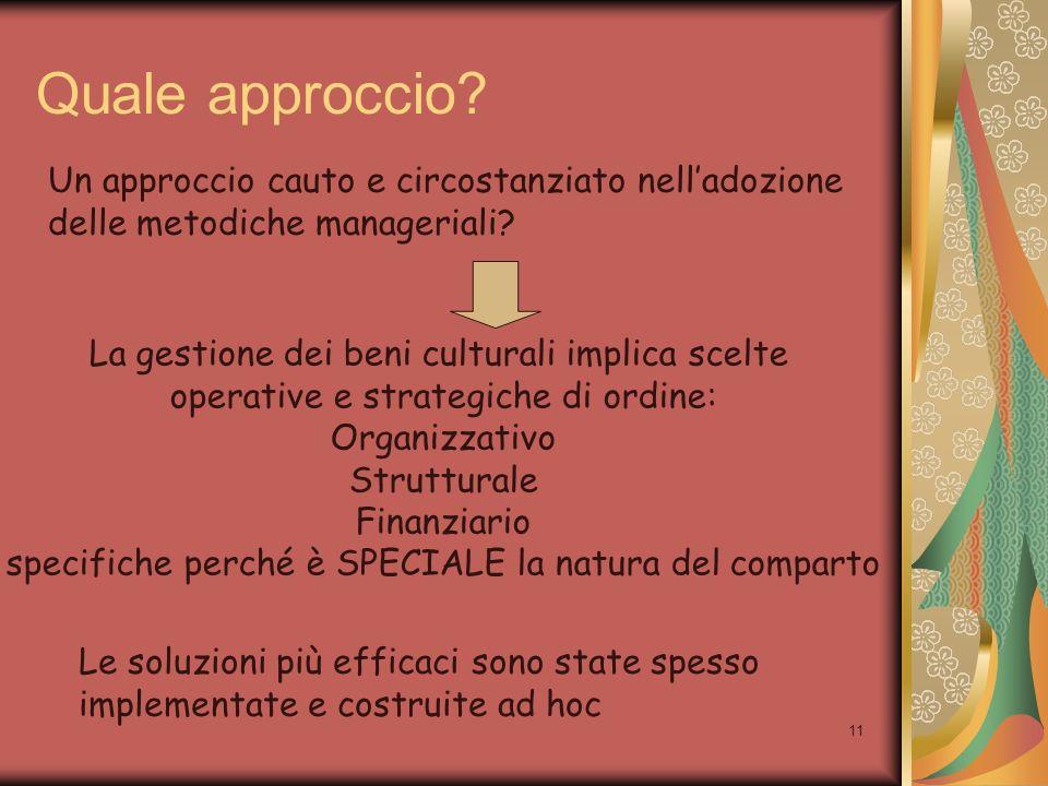 11 Quale approccio? Un approccio cauto e circostanziato nelladozione delle metodiche manageriali? La gestione dei beni culturali implica scelte operat