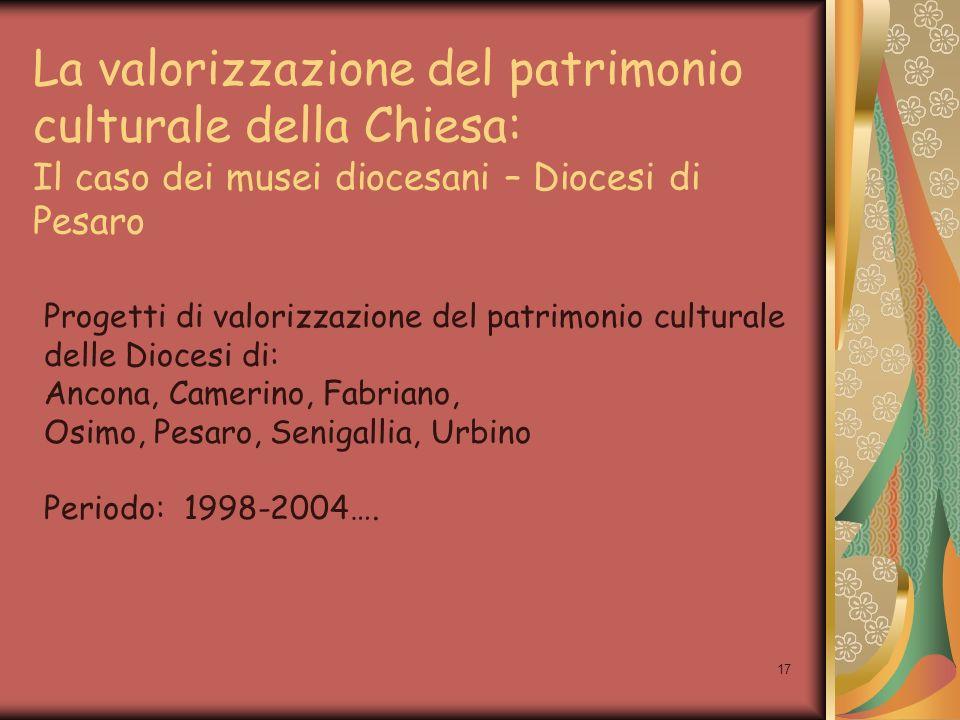 17 La valorizzazione del patrimonio culturale della Chiesa: Il caso dei musei diocesani – Diocesi di Pesaro Progetti di valorizzazione del patrimonio