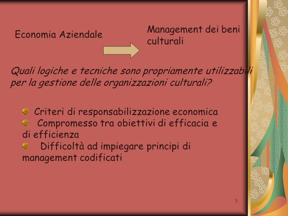 3 Economia Aziendale Management dei beni culturali Quali logiche e tecniche sono propriamente utilizzabili per la gestione delle organizzazioni cultur