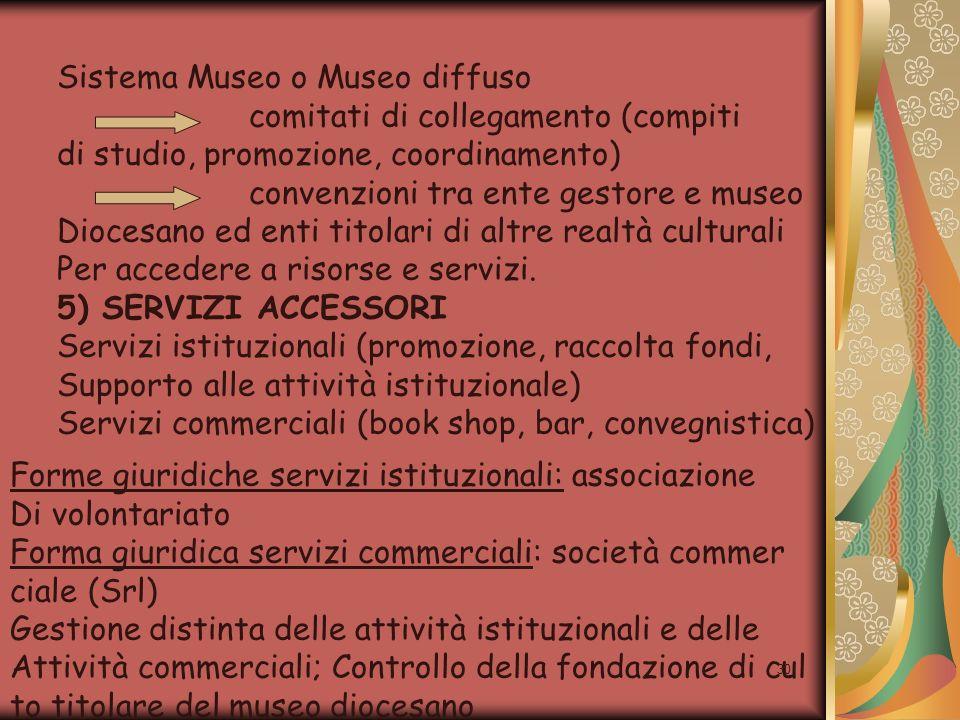 30 Sistema Museo o Museo diffuso comitati di collegamento (compiti di studio, promozione, coordinamento) convenzioni tra ente gestore e museo Diocesan
