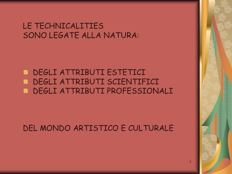 5 LE TECHNICALITIES SONO LEGATE ALLA NATURA: DEGLI ATTRIBUTI ESTETICI DEGLI ATTRIBUTI SCIENTIFICI DEGLI ATTRIBUTI PROFESSIONALI DEL MONDO ARTISTICO E