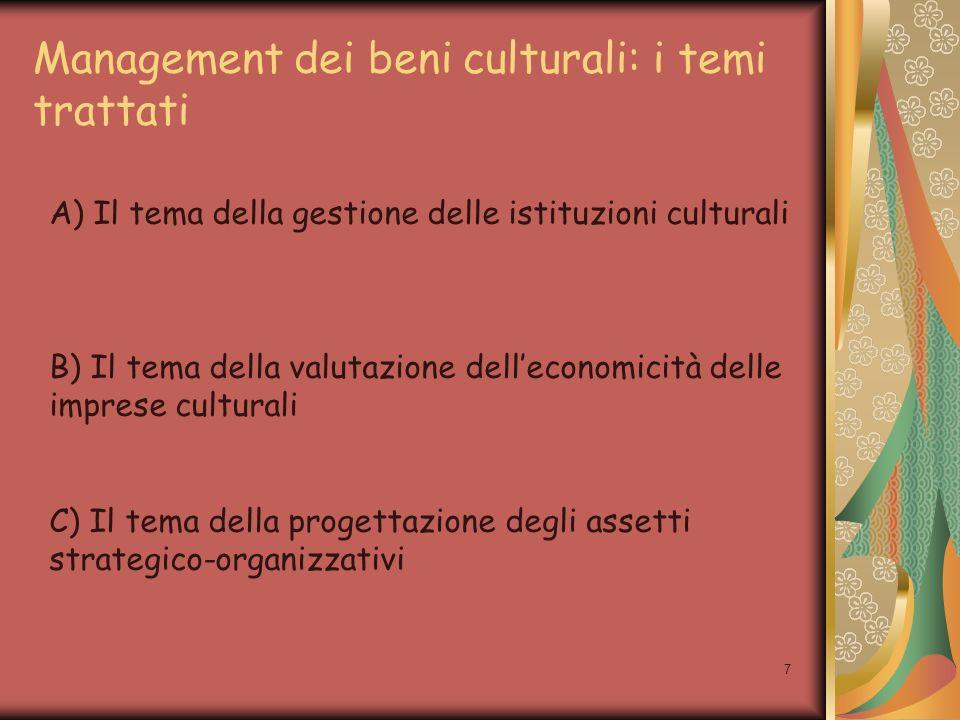 8 A) Il tema della gestione delle istituzioni culturali Analisi dei processi tipici e impatto delle scelte di gestione sulla struttura di costo Analisi delle correlate strutture di costo; analisi del punto di pareggio (incidenza costi fissi) Analisi delle scelte di investimento in nuove tecnologie Analisi delle caratteristiche strutturali delle aziende artistiche e culturali per mettere in luce i criteri alla base delle scelte di: Dimensionamento dellattività tipica Definizione del campo di attività Esternalizzazione di alcune attività di gestione Sviluppo di nuove aree di attività oltre a quella tipica Sviluppo di forme di aggregazione e collaborazioni (assetti a rete; successo con il concorso di attori organizzati attorno ad un obiettivo comune