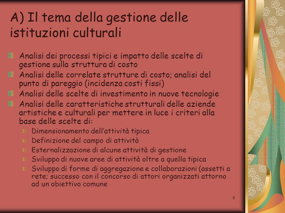 8 A) Il tema della gestione delle istituzioni culturali Analisi dei processi tipici e impatto delle scelte di gestione sulla struttura di costo Analis