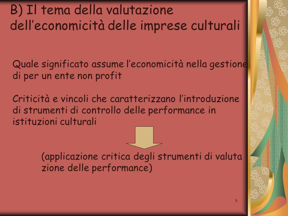 9 B) Il tema della valutazione delleconomicità delle imprese culturali Quale significato assume leconomicità nella gestione di per un ente non profit