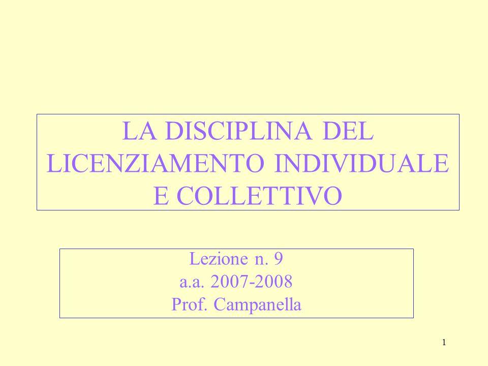 12 IL GIUSTIFICATO MOTIVO (artt.3, 8 L. n. 604/1966 e 18 St.