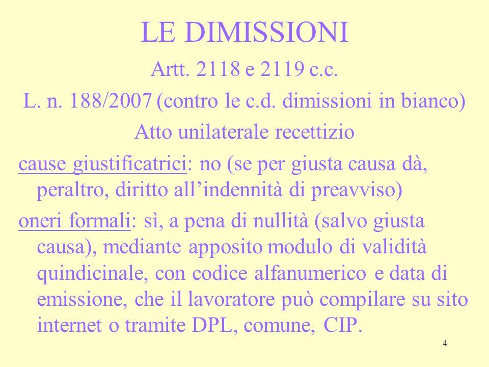 5 IL PREAVVISO La funzione è di consentire alla controparte di organizzarsi per affrontare le conseguenze dellestinzione del rapporto Viene meno in caso di giusta causa (art.