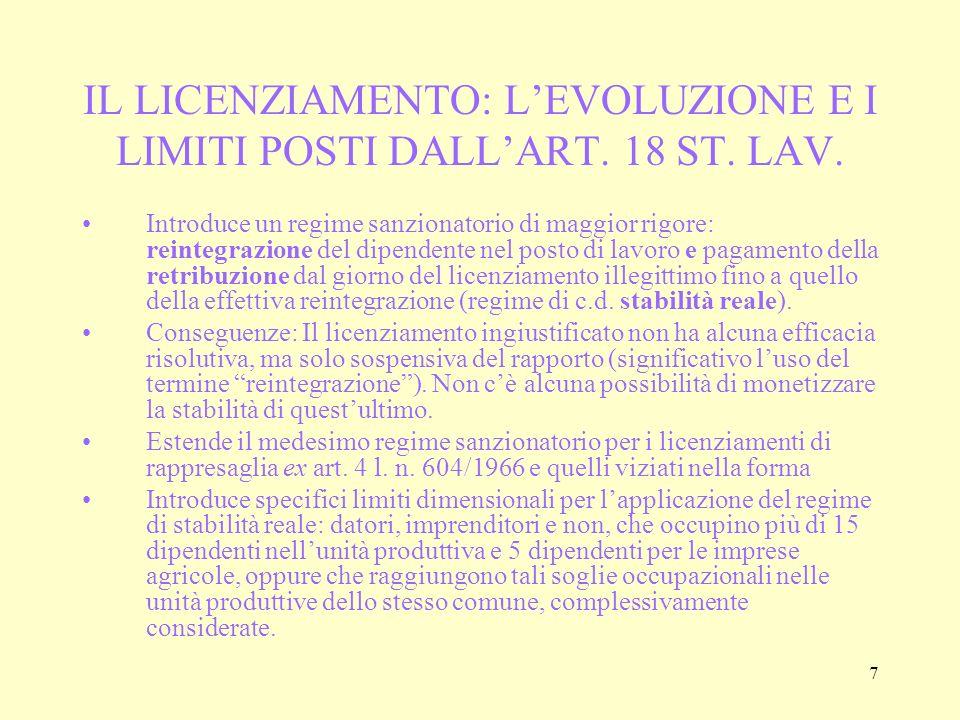 18 ONERE DELLA PROVA (art.5 L. n. 604/1966) Prova della g.c.