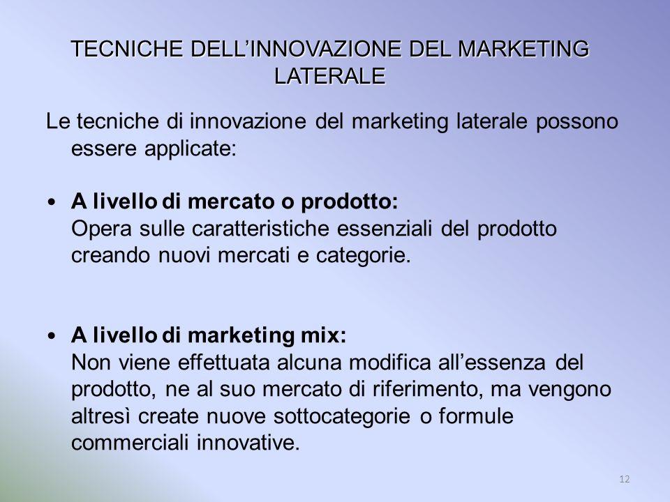 12 TECNICHE DELLINNOVAZIONE DEL MARKETING LATERALE Le tecniche di innovazione del marketing laterale possono essere applicate: A livello di mercato o