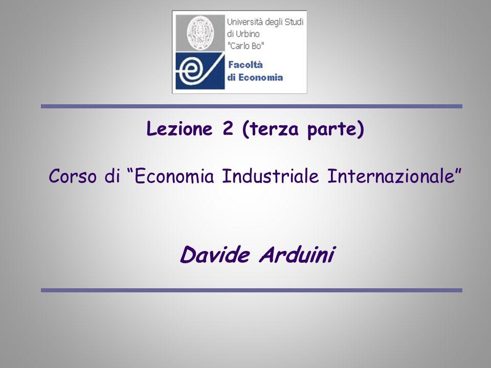 Lezione 2 (terza parte) Corso di Economia Industriale Internazionale Davide Arduini