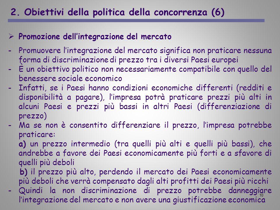10 2. Obiettivi della politica della concorrenza (6) Promozione dellintegrazione del mercato -Promuovere lintegrazione del mercato significa non prati
