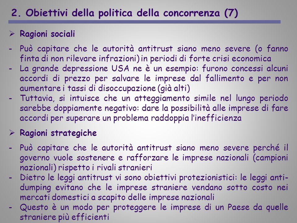 11 2. Obiettivi della politica della concorrenza (7) Ragioni sociali -Può capitare che le autorità antitrust siano meno severe (o fanno finta di non r