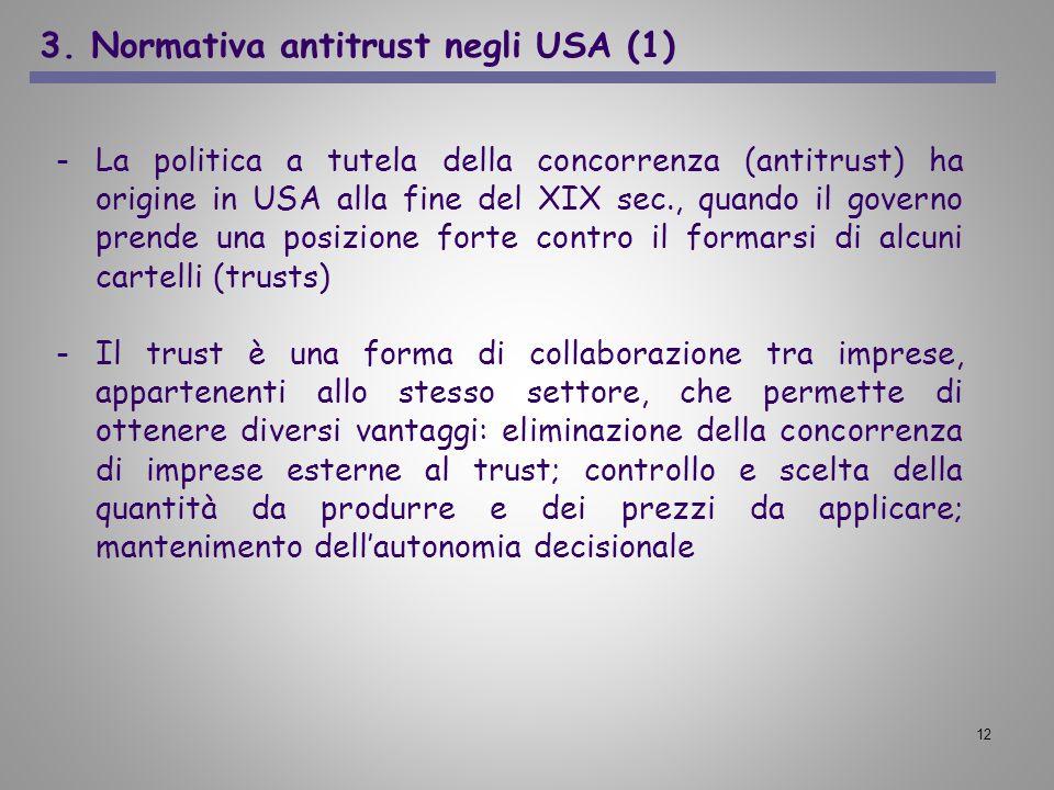 12 -La politica a tutela della concorrenza (antitrust) ha origine in USA alla fine del XIX sec., quando il governo prende una posizione forte contro i