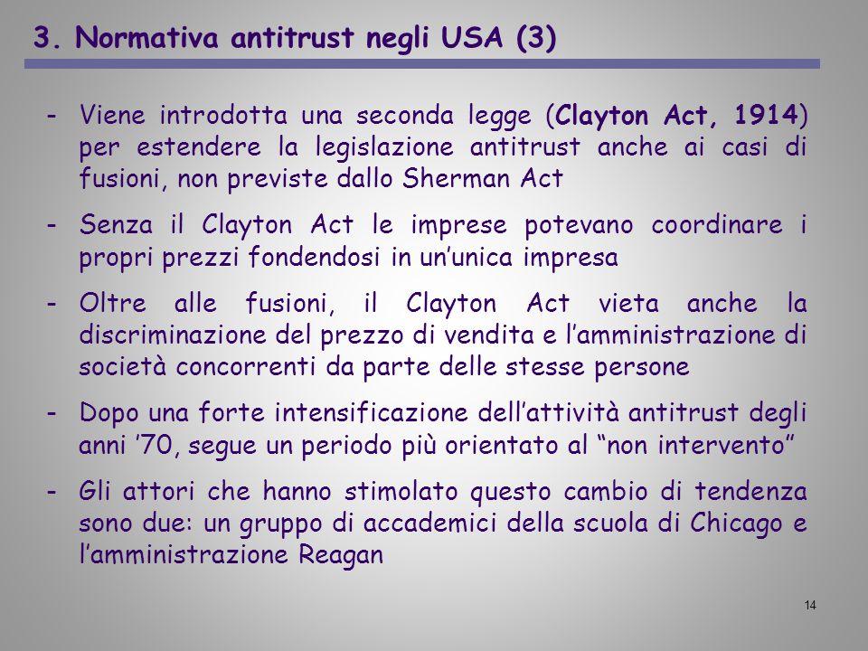 14 -Viene introdotta una seconda legge (Clayton Act, 1914) per estendere la legislazione antitrust anche ai casi di fusioni, non previste dallo Sherma