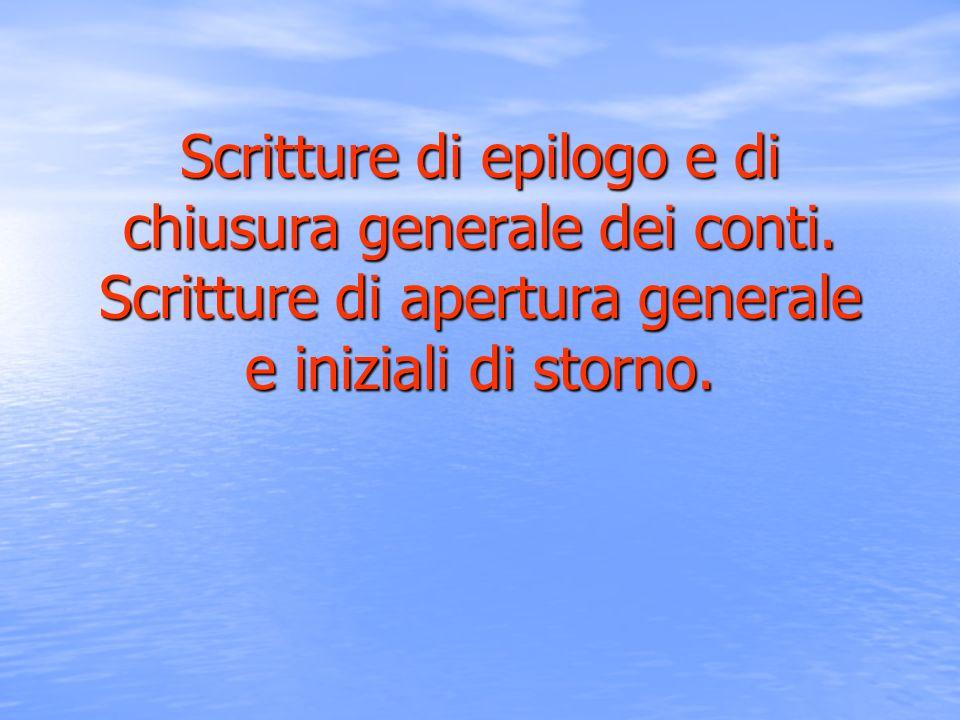 Scritture di epilogo e di chiusura generale dei conti.