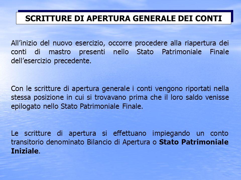 Allinizio del nuovo esercizio, occorre procedere alla riapertura dei conti di mastro presenti nello Stato Patrimoniale Finale dellesercizio precedente.