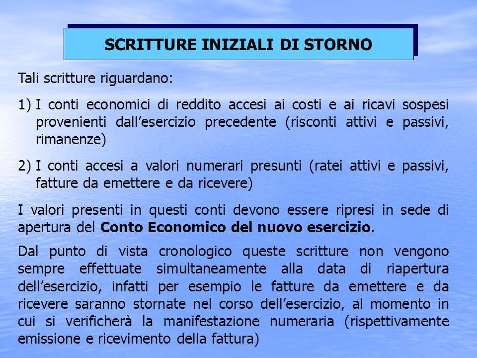 I valori presenti in questi conti devono essere ripresi in sede di apertura del Conto Economico del nuovo esercizio.