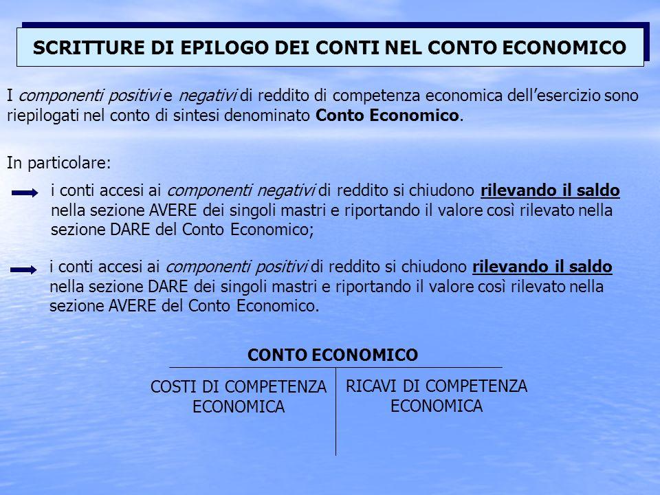 I componenti positivi e negativi di reddito di competenza economica dellesercizio sono riepilogati nel conto di sintesi denominato Conto Economico.
