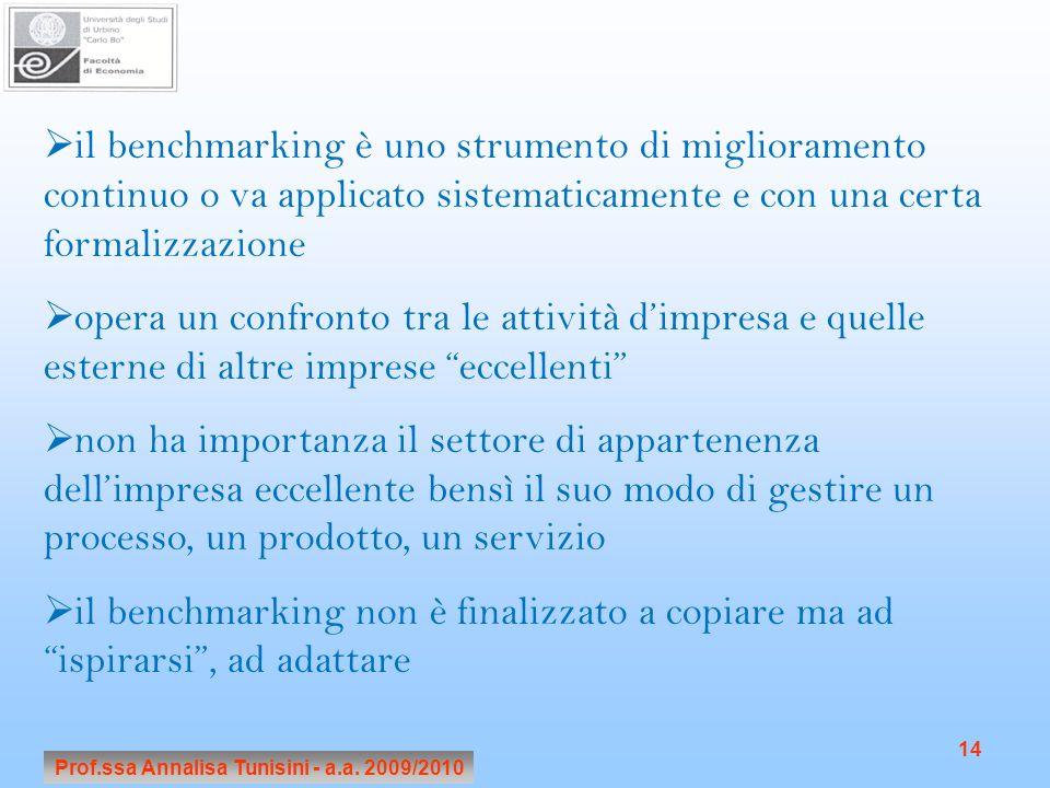 Prof.ssa Annalisa Tunisini - a.a. 2009/2010 14 il benchmarking è uno strumento di miglioramento continuo o va applicato sistematicamente e con una cer