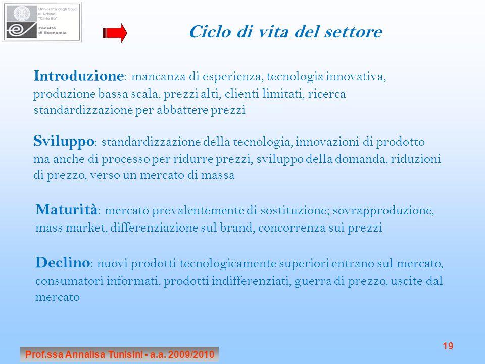 Prof.ssa Annalisa Tunisini - a.a. 2009/2010 19 Ciclo di vita del settore Introduzione : mancanza di esperienza, tecnologia innovativa, produzione bass