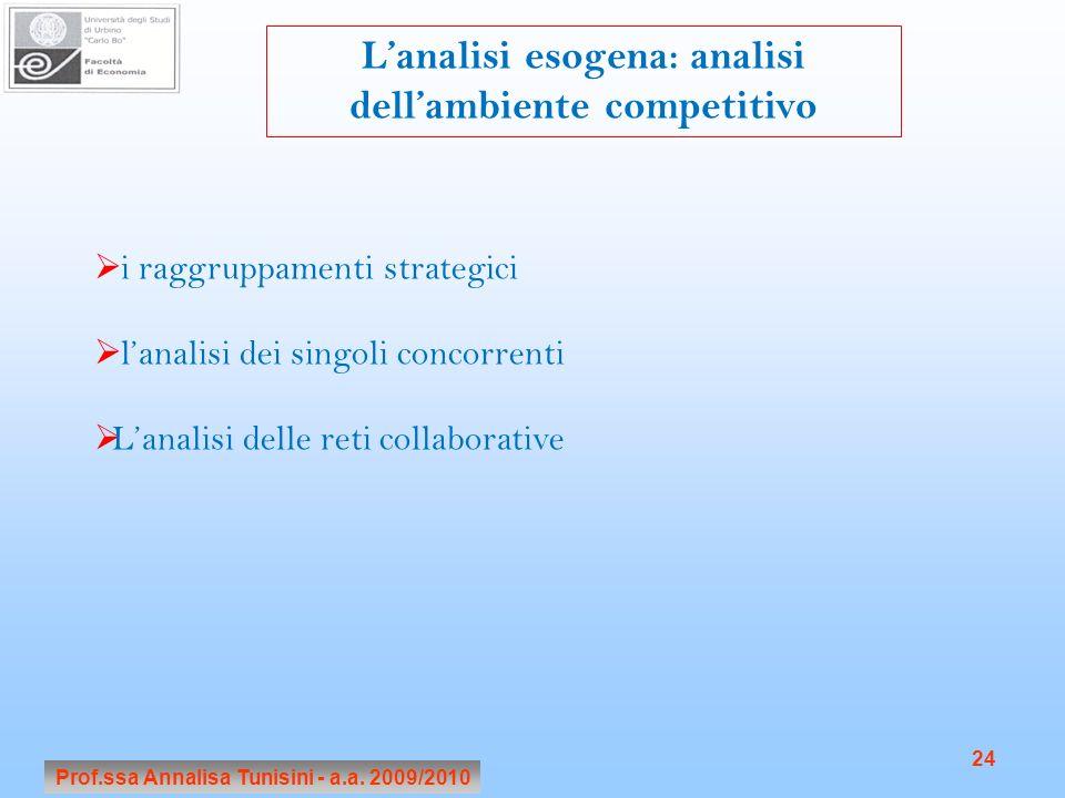 Prof.ssa Annalisa Tunisini - a.a. 2009/2010 24 Lanalisi esogena: analisi dellambiente competitivo i raggruppamenti strategici lanalisi dei singoli con
