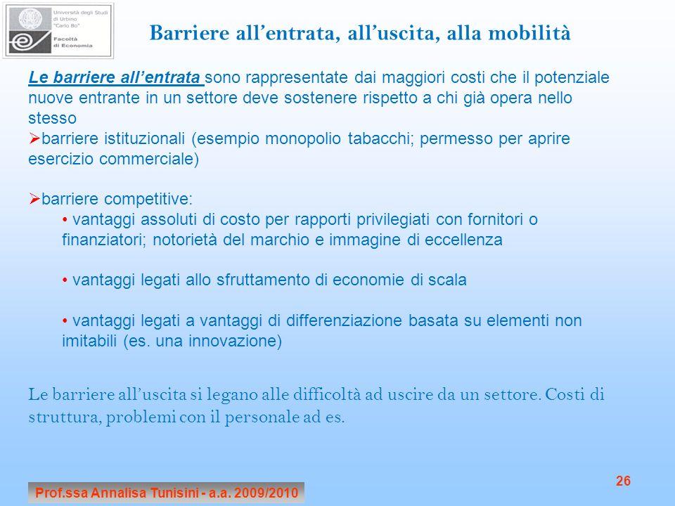 Prof.ssa Annalisa Tunisini - a.a. 2009/2010 26 Barriere allentrata, alluscita, alla mobilità Le barriere allentrata sono rappresentate dai maggiori co