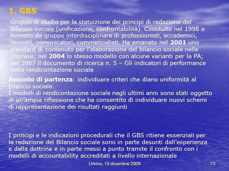 Urbino, 10 dicembre 200913 1. GBS Assunto di partenza: individuare criteri che diano uniformità al bilancio sociale. I modelli di rendicontazione soci