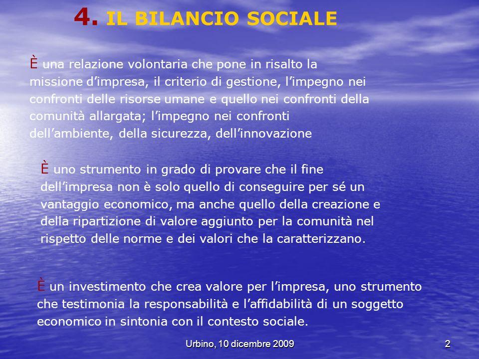 Urbino, 10 dicembre 200953 AreeBilancio ambientale Variabili AreeBilancio Sociale Variabili a.