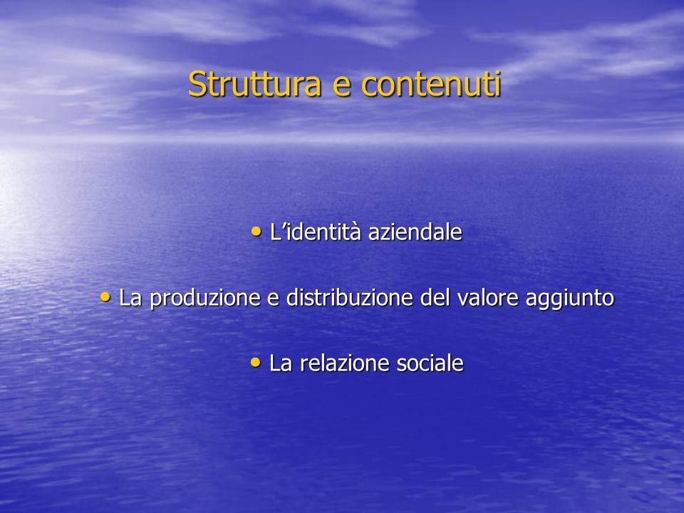 Struttura e contenuti Lidentità aziendale Lidentità aziendale La produzione e distribuzione del valore aggiunto La produzione e distribuzione del valo