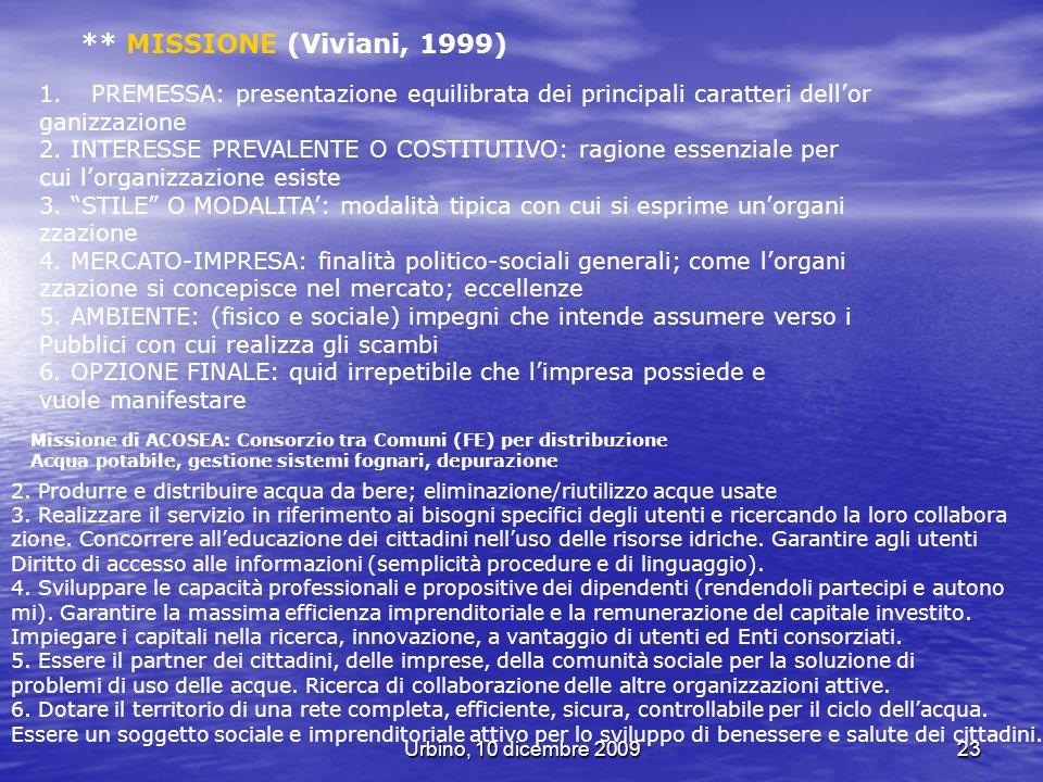 Urbino, 10 dicembre 200923 ** MISSIONE (Viviani, 1999) 1.PREMESSA: presentazione equilibrata dei principali caratteri dellor ganizzazione 2. INTERESSE