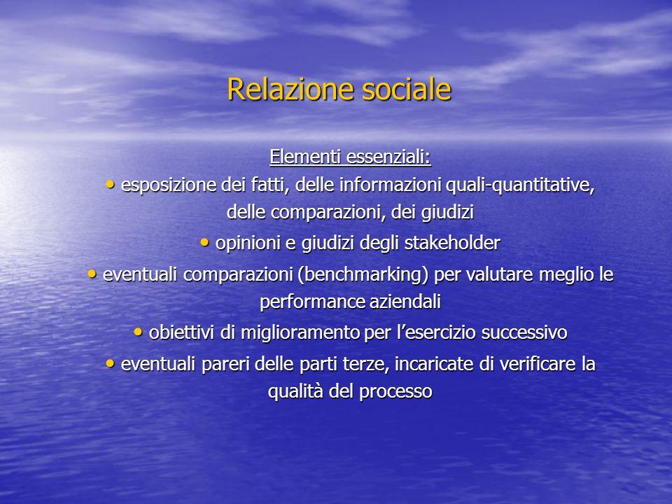 Relazione sociale Elementi essenziali: esposizione dei fatti, delle informazioni quali-quantitative, delle comparazioni, dei giudizi esposizione dei f