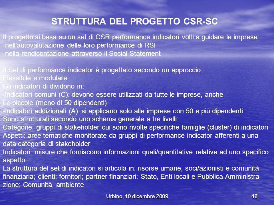 Urbino, 10 dicembre 200948 STRUTTURA DEL PROGETTO CSR-SC Il progetto si basa su un set di CSR performance indicatori volti a guidare le imprese: -nell