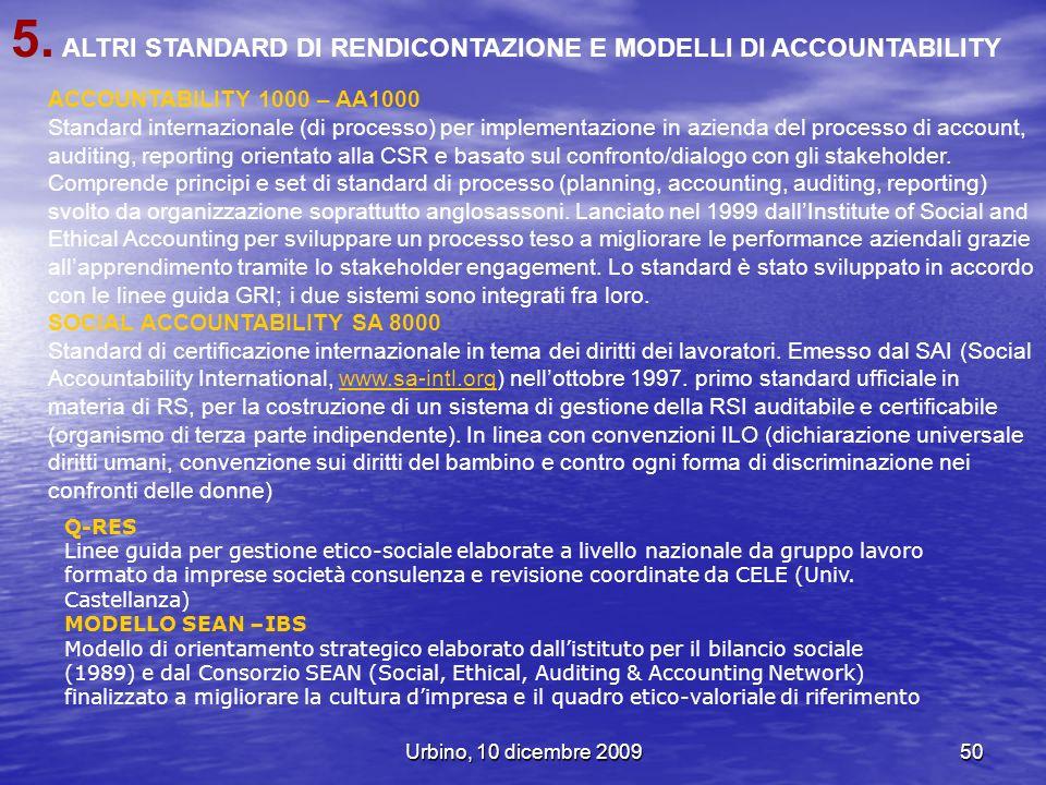 Urbino, 10 dicembre 200950 5. ALTRI STANDARD DI RENDICONTAZIONE E MODELLI DI ACCOUNTABILITY ACCOUNTABILITY 1000 – AA1000 Standard internazionale (di p