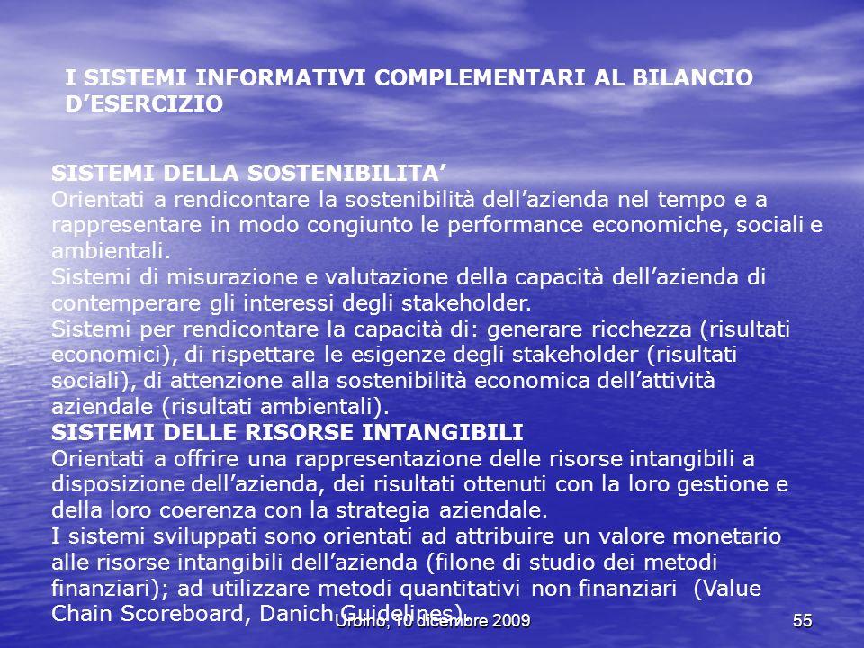 Urbino, 10 dicembre 200955 I SISTEMI INFORMATIVI COMPLEMENTARI AL BILANCIO DESERCIZIO SISTEMI DELLA SOSTENIBILITA Orientati a rendicontare la sostenib