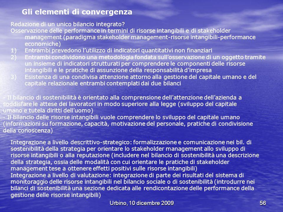 Urbino, 10 dicembre 200956 Gli elementi di convergenza Redazione di un unico bilancio integrato? Osservazione delle performance in termini di risorse