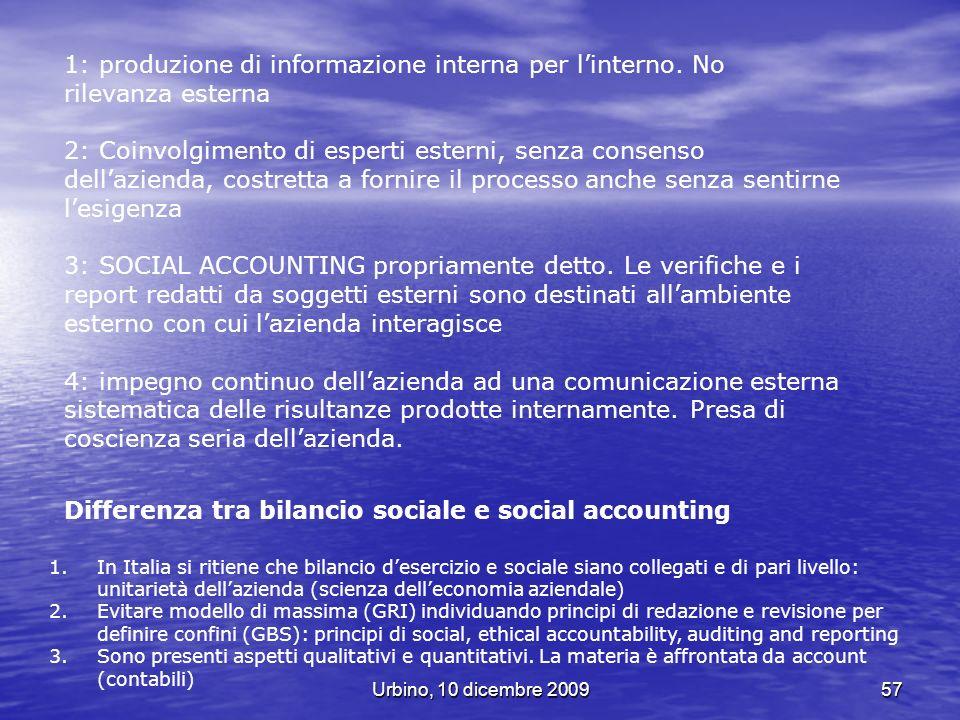 Urbino, 10 dicembre 200957 1: produzione di informazione interna per linterno. No rilevanza esterna 2: Coinvolgimento di esperti esterni, senza consen